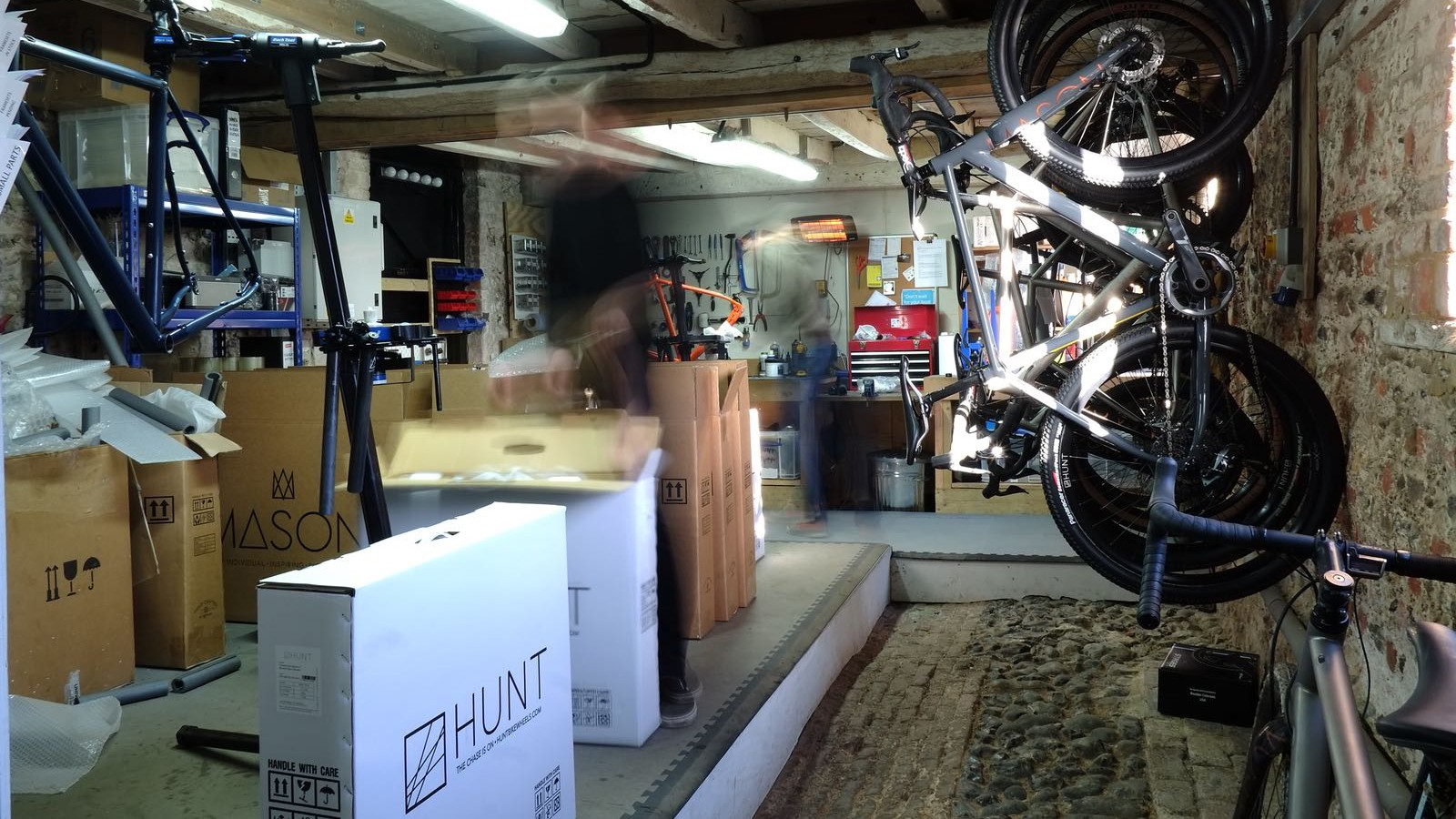 A look inside the old barn, which is Mason Cycles' slightly unorthodox headquarters