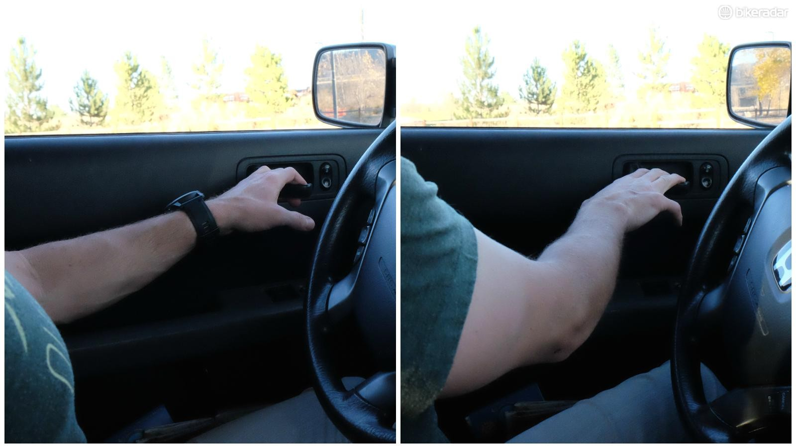 Reaching across your torso, rather than reaching for the door with your near hand, positions your body to look behind your vehicle before fully opening the door