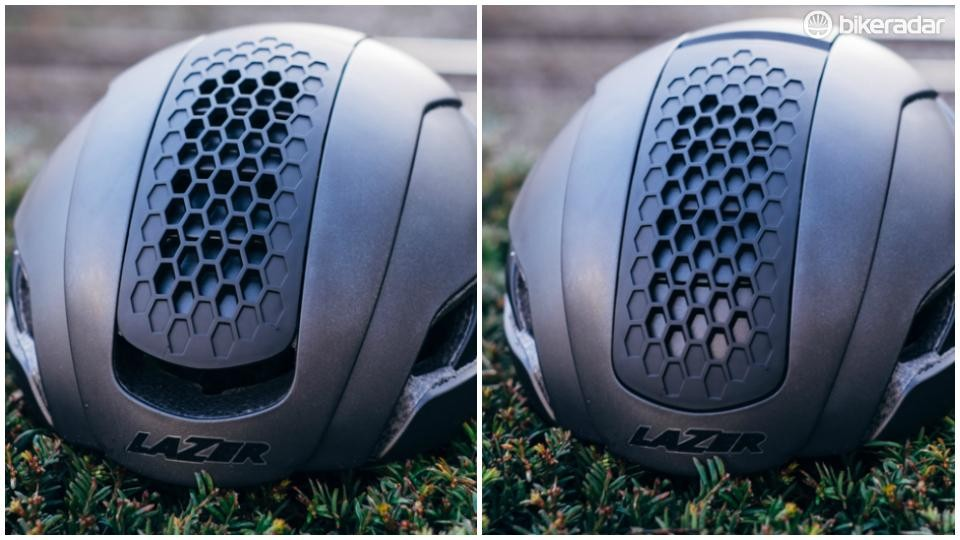 (L) The bullet with its vent open for maximum cooling and (R) with its vent closed for improved aerodynamics