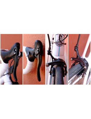 (L) Centaur's new Ergopower levers look and feel very similar to last year's Potenza items (R) New dual pivot brake calipers have the outline of skeleton brakes, but a solid outer arm