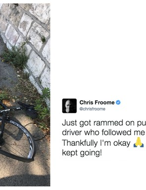 Tour de France champion lucky to escape hit-and-run incident without injury