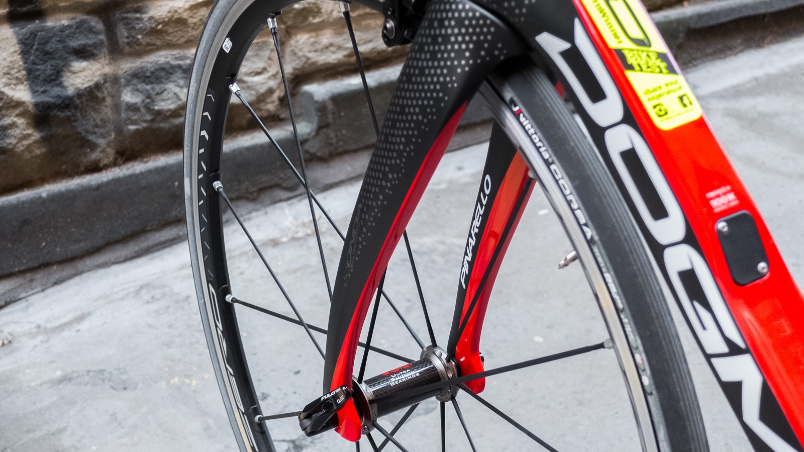 The legs of the fork are bowed to improve aerodynamics