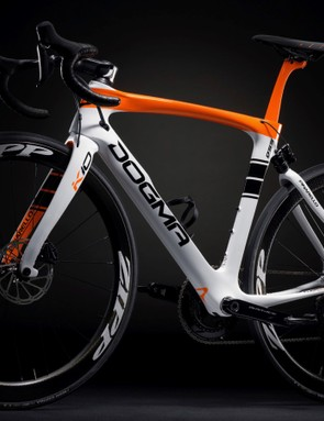 The Pinarello Dogma K10S Disk has chainstays designed to handle up to 1cm of suspension travel