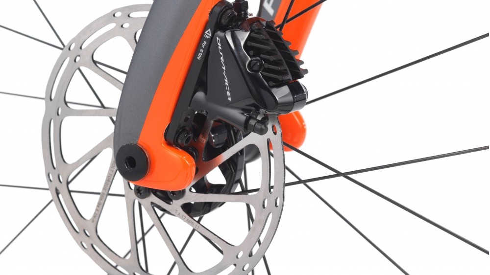 "The ""fork flaps"" have been modified to work best with flat mount disc brakes"
