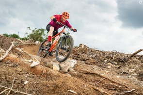 The longer wheelbase makes the bike more stable through fast, loose or slippery turns