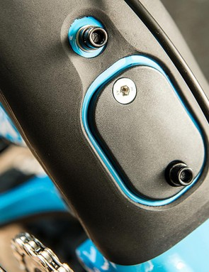 There's a removable chip on the underside of the down tube for a Shimano Di2 battery