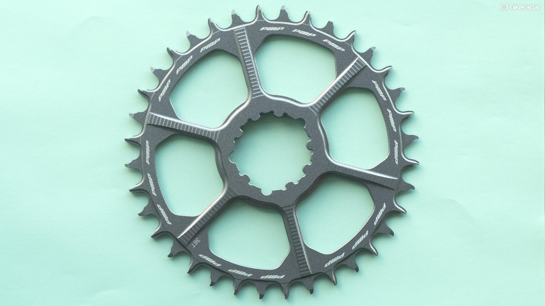 The chainrings have a distinctive hook machined into the leading edge of the teeth