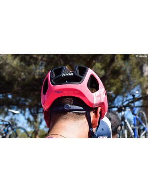 A ratcheting dial on the rear of the helmet ensures a secure fit