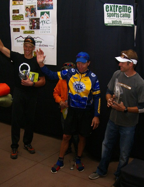 Team Beaver Creek riders Dave Wiens, Mike Kloser and Jay Henry graciously accept second place.