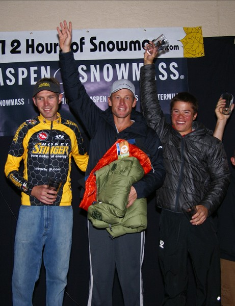 Len Zanni, Lance Armstrong and Max Taam atop the podium as winners of the men's trio category in the inaugural 12 Hours of Snowmass.
