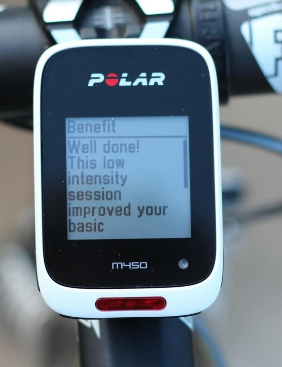 Polar's background is heart-rate training; the M450's feedback is reflective of that