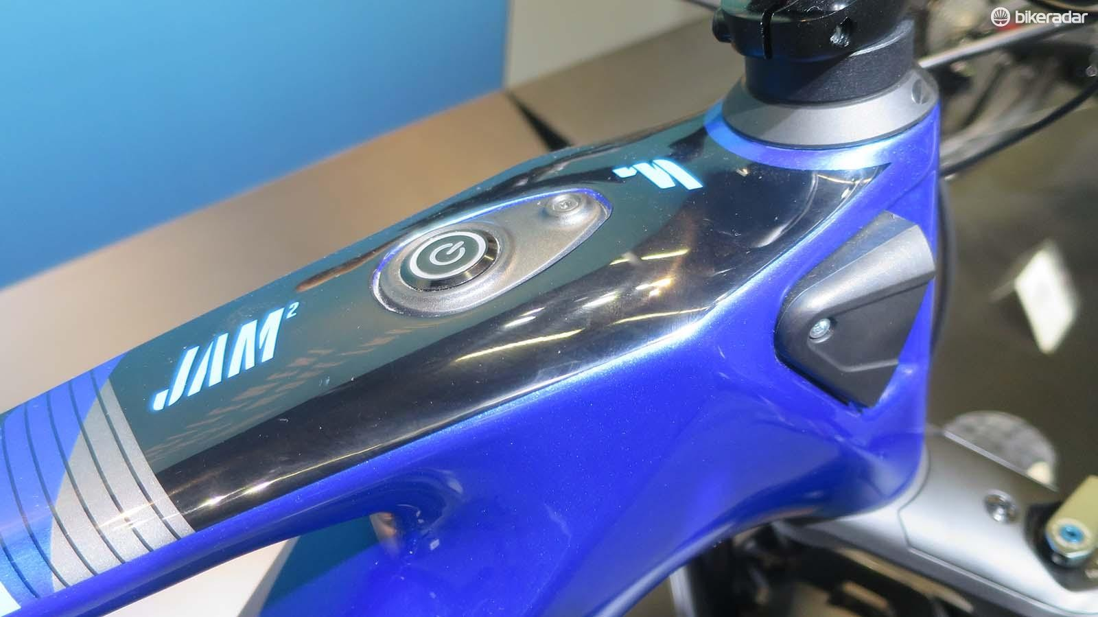 Power up the Drifter with its top tube mounted button