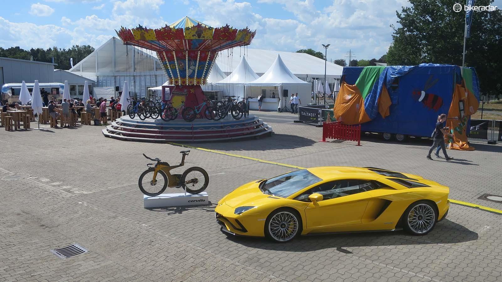 It's not often you see a Lamborghini Aventador at a bike show