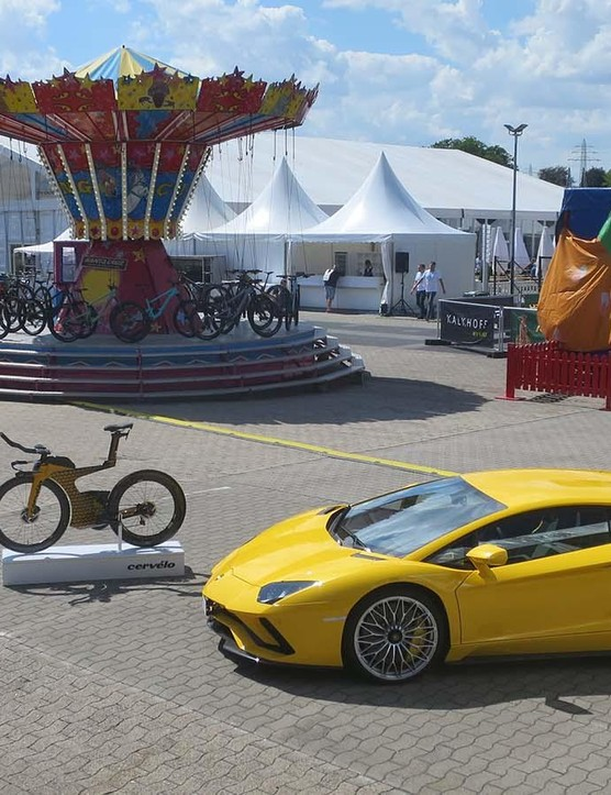 It's not often you see a Lamborghini Aventador at a bike show