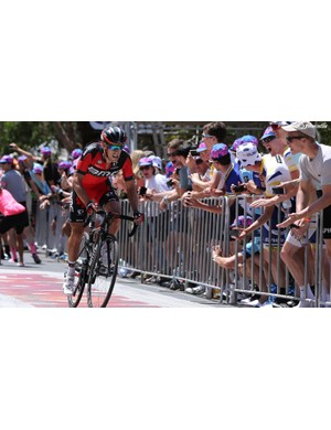 Richie Porte on his way to winning stage 5 of the Tour Down Under on Willunga Hill. The bike featured here is the very same