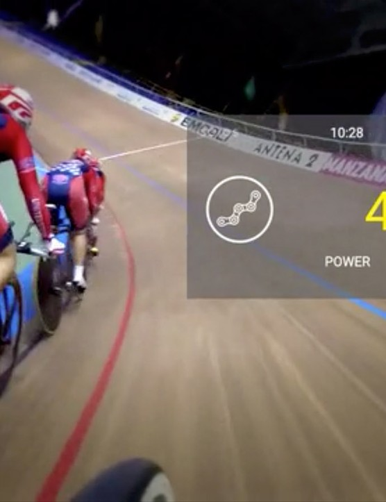 The tiny display shows key metrics like power, speed, heart rate, and distance…