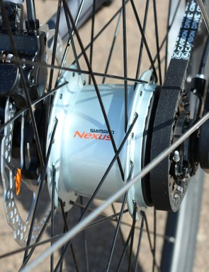The internal hub can be shifted without pedaling, which is nice at stoplights
