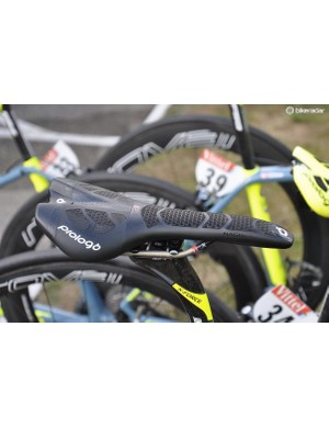 Most of the Tinkoff riders have chosen to use saddles with Prologo's latest 'airing' CPC textured surfacing