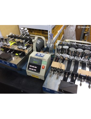 This machine's sole purpose is to check wear rates and colour fastness on the myriad of bar tapes that Velo produces