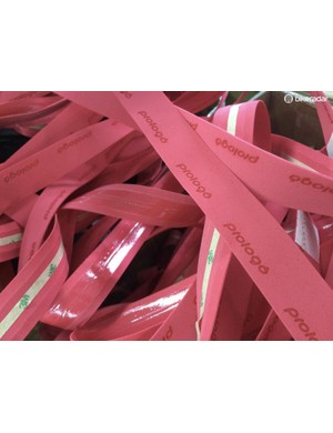 Pink Prologo tape being produced for the Giro