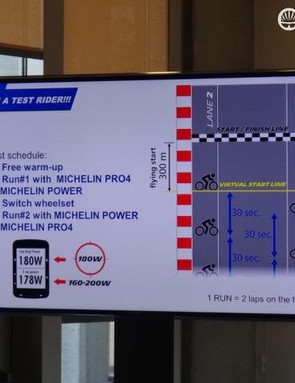 Michelin set out a good test protocol, using a controlled track, normalized rider, bike and wheels and the use of a Stages power meter and Garmin computer