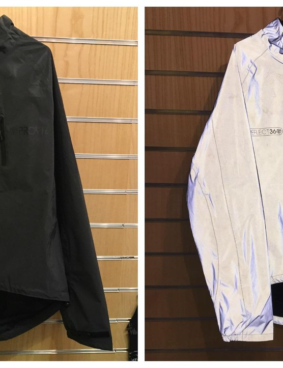 We spotted a prototype reflective jacket from hi-vis experts ProViz. The new jacket, shown here in black (with the image on the right lit by the flash) will also be available in navy and possibly some other colours