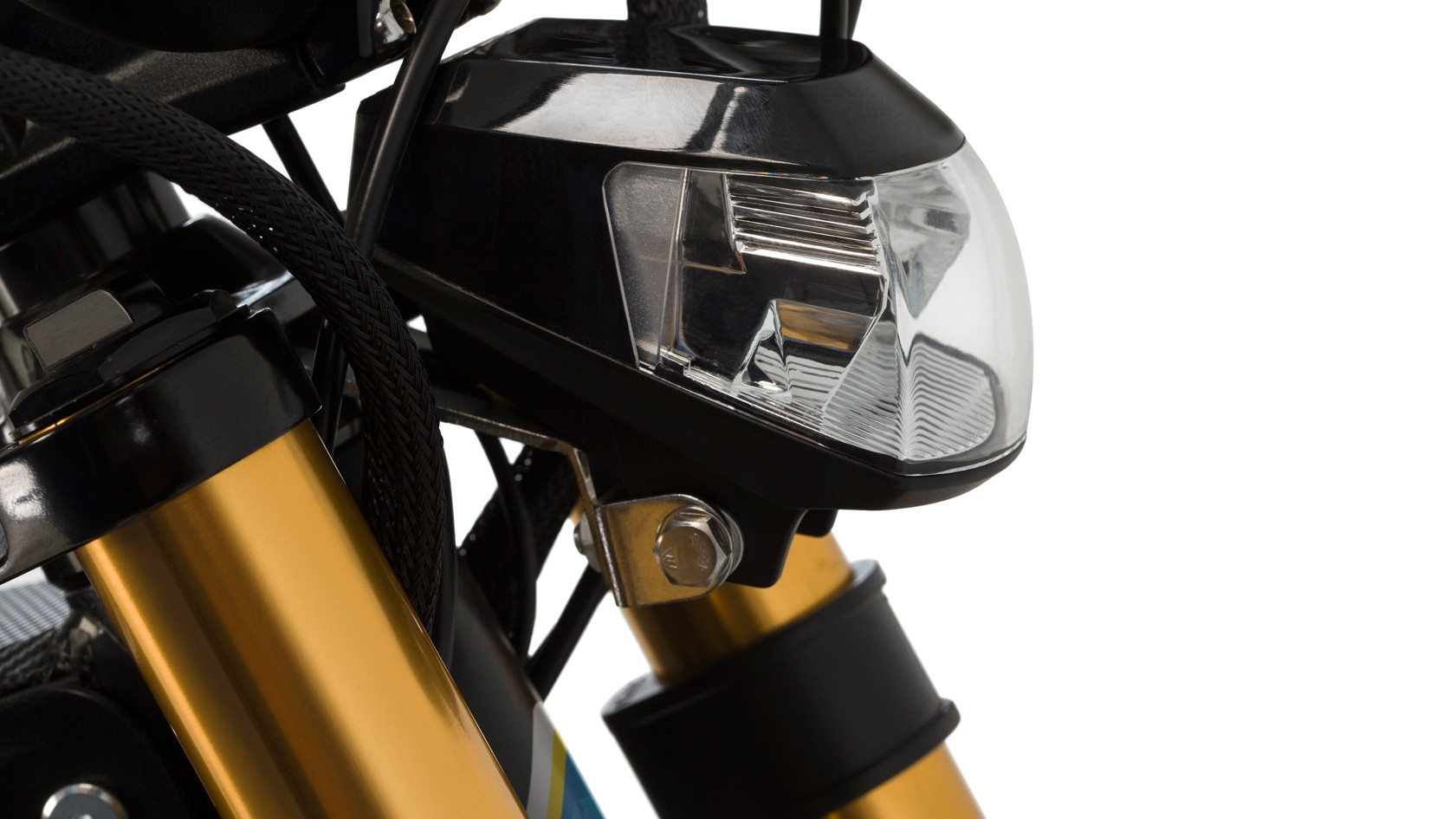 Lights are included with a taillight, blinkers mounted on the mirrors, and this very moto-looking headlight