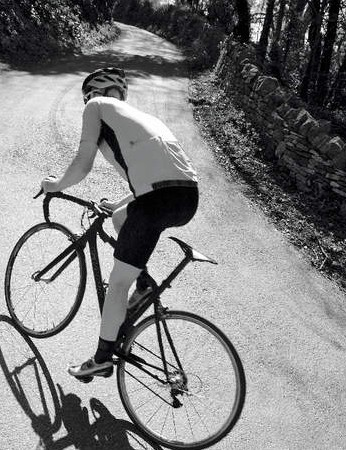 My stomach's as big as his thigh, and my thigh's as big as his stomach. Clearly we need similar bikes
