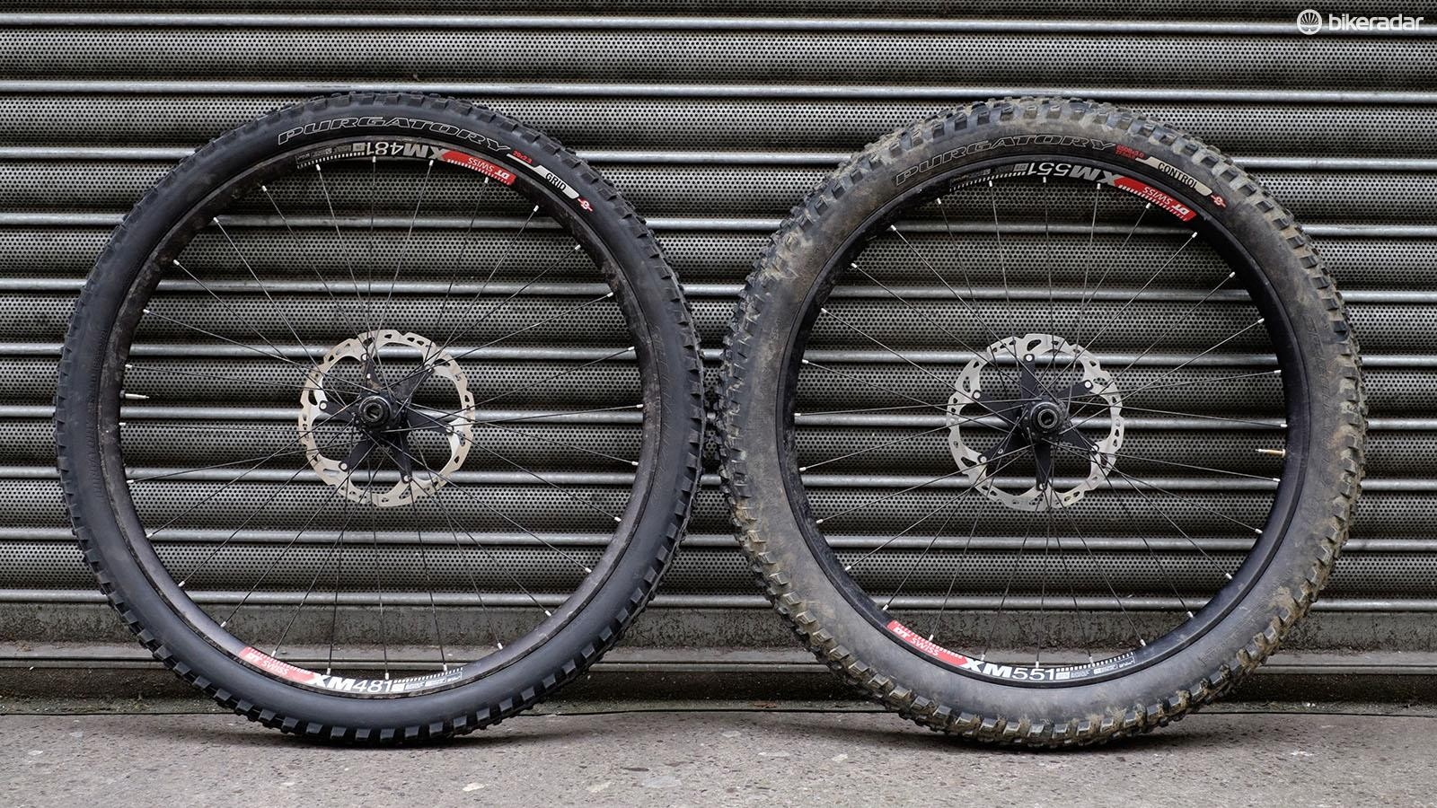 The 29x2.3in tires were about 8mm larger in diameter than the 27.5x3in rubber, resulting in a 4mm higher bottom bracket