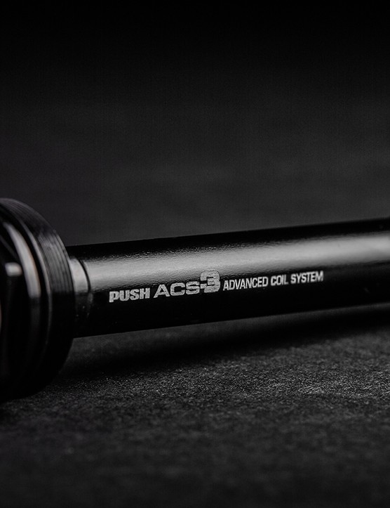 The ACS-3 air cartridge gives riders the ability to adjust the progressivity of the coil-sprung fork