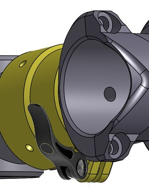 A sleeve fitted with a quick release lever holds it all in place