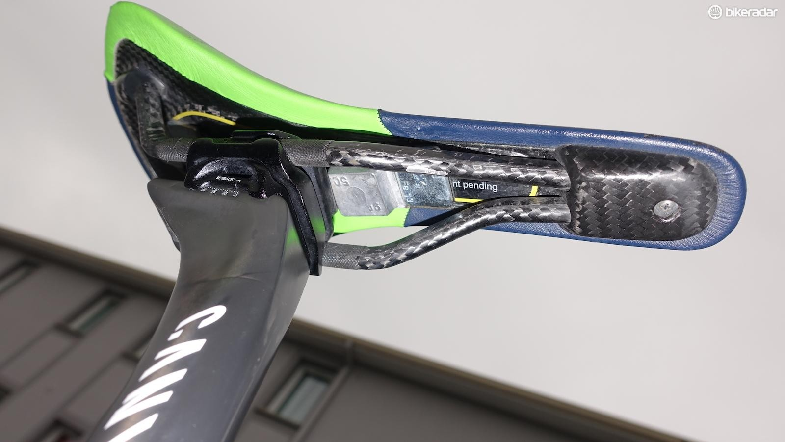 To meet the UCI minimum bike weight of 6.8kg, mechanics glued lead weights to the underside of his saddle