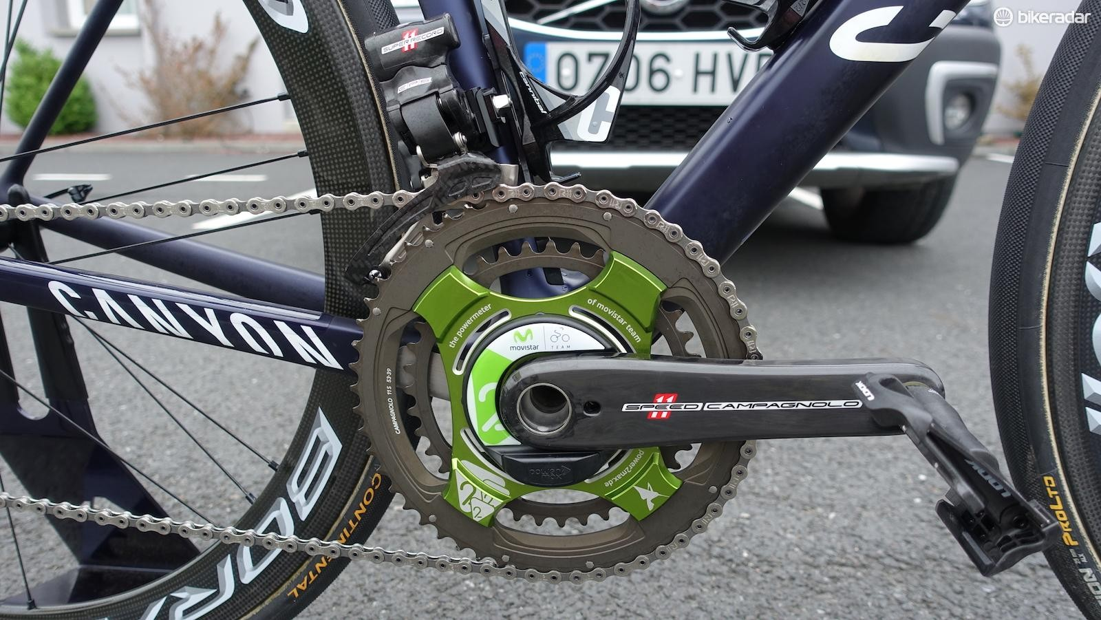 German power meter manufacturer Power2Max is a Movistar sponsor. Quintana had standard 53/39 chainrings mounted for the start of the Tour