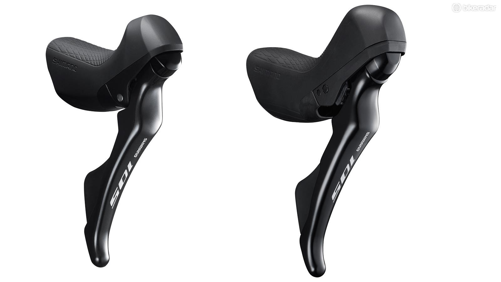 Shimano's new R7020 lever, shown on the right next to a non-hydraulic R7000, looks great