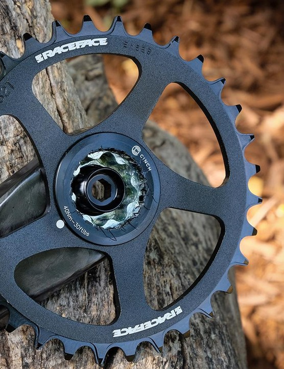 The Cinch system allows this crankset to accept a variety of chainring combinations