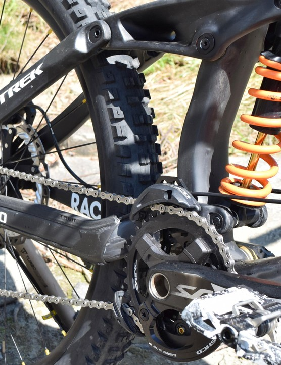 Rachel was one of the first with the orange spring on her Fox DHX2 shock