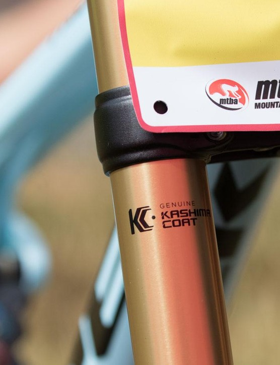 Both fork and rear shock are given the ultra-slick Kashima coating for low friction
