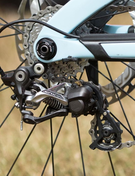 A short cage is all that's needed with the limited cassette ranges used in downhill racing