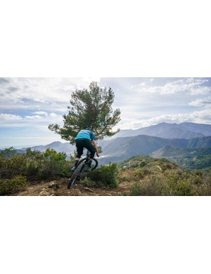 MBUK's Ed Thomsett sending the Swoop into one of Dolce Aqua's most stunning trails