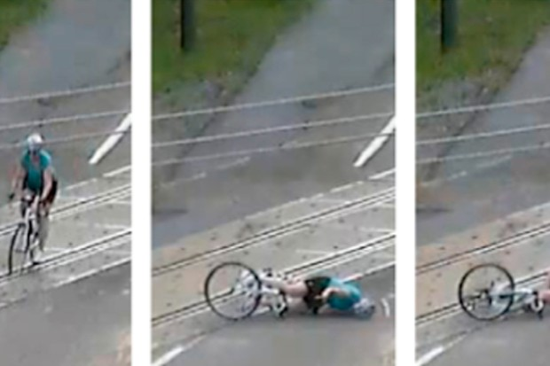 Crossing railway tracks is fraught with peril for cyclists