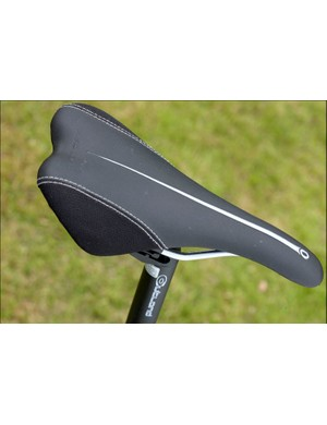 The unbranded saddle looks disappointingly cheap. However, for riding hard all our testers thought that it provided better support than the wider and more padded saddles often specced at this price range.