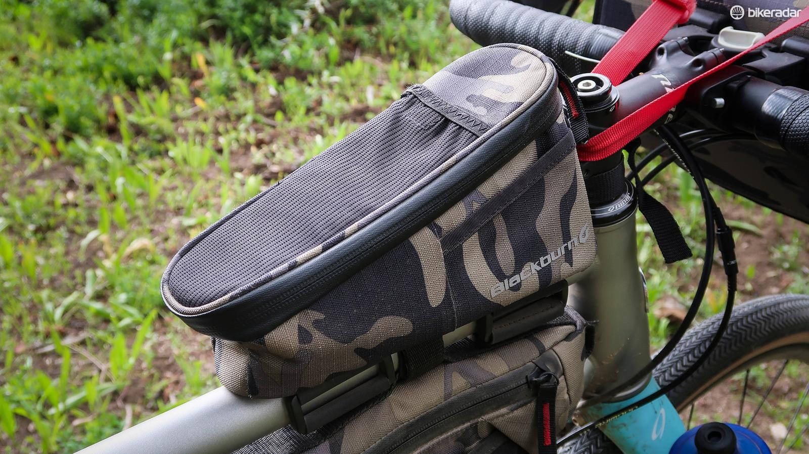 The Outpost top tube bag is handy for carrying mid-ride essentials