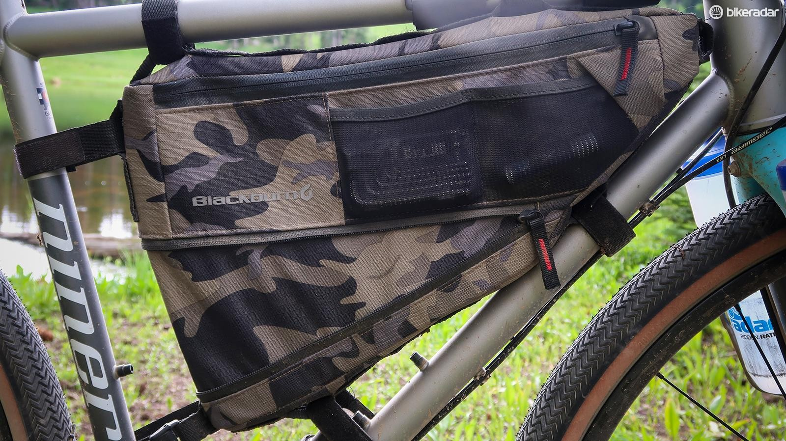 The Outpost frame bag is a good place to store food, water and other items you need to access while riding