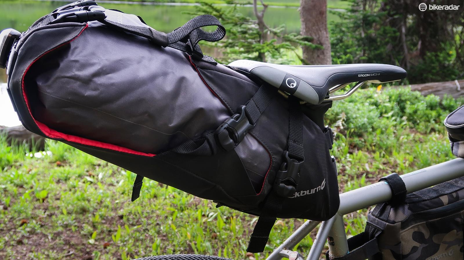 The Outpost saddle bag carried my tent and a few other items I would only need at camp