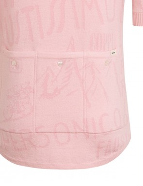 The back of the Rapha Coppi Rosa jersey