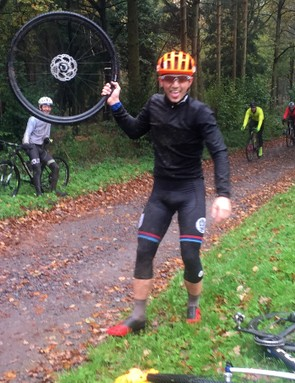 Poor wee Josh suffered four punctures on the day — this was the first when it was still amusing