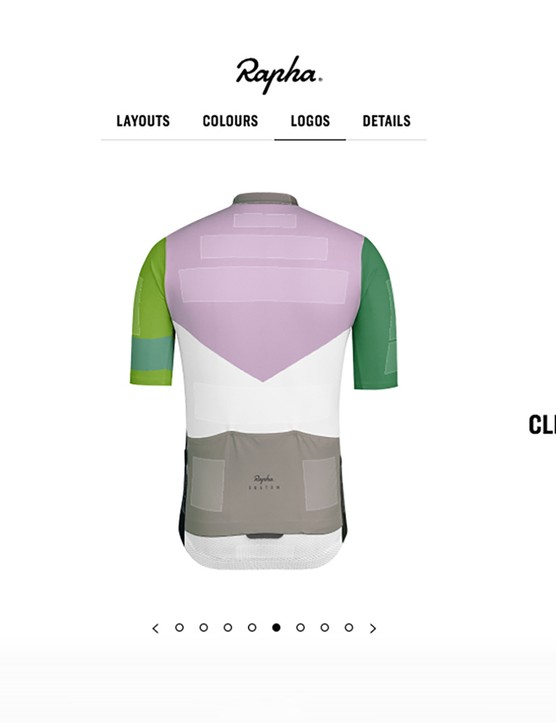 Rapha Custom features plenty of text and logo spaces