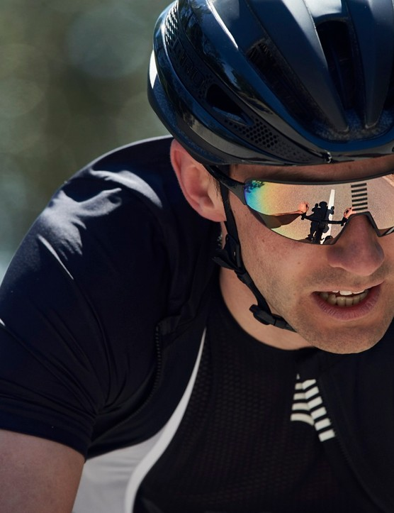 Rapha's new sunglasses are frameless for maximum peripheral vision