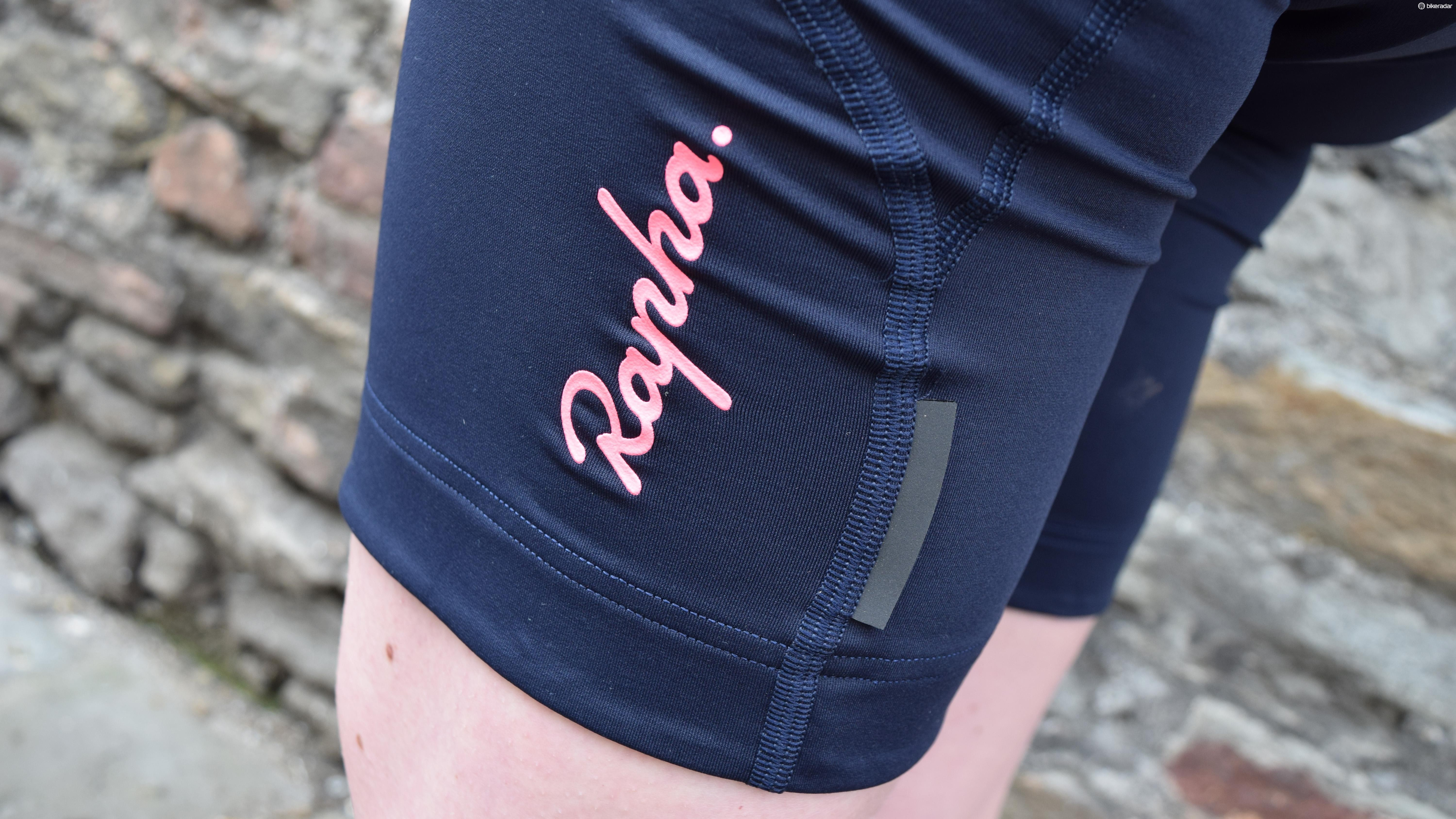 Flatlock stitching, the distinctive Rapha logo and reflective tabs