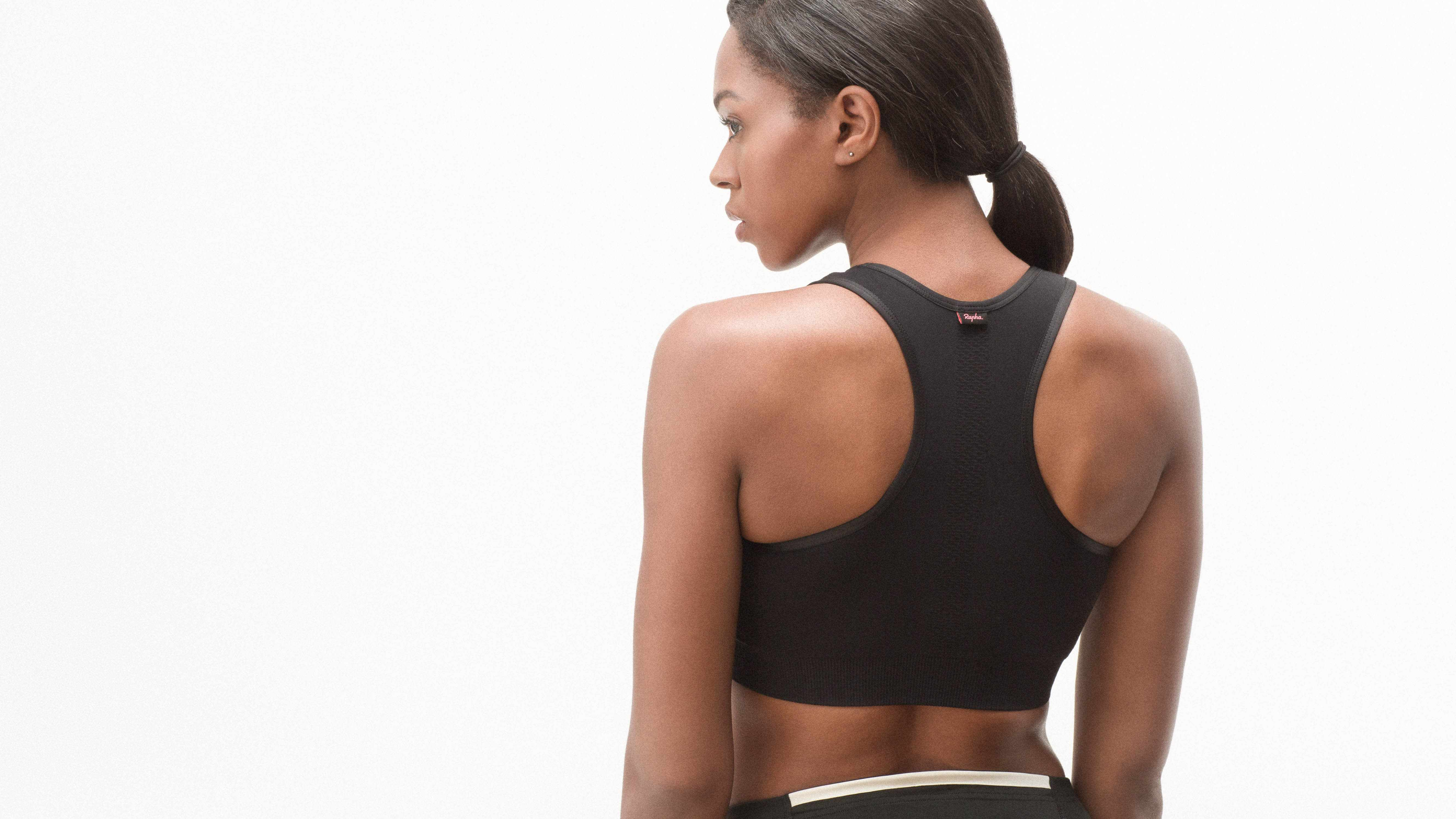 The light support bra has a racerback cut and wide underbust band